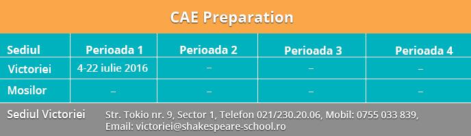 Perioade cursuri CAE Preparation